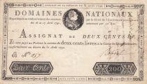France 200 Livres Bust of Louis XVI - 31-08-1792 - Serial B - VF+ - Sign. Reboul