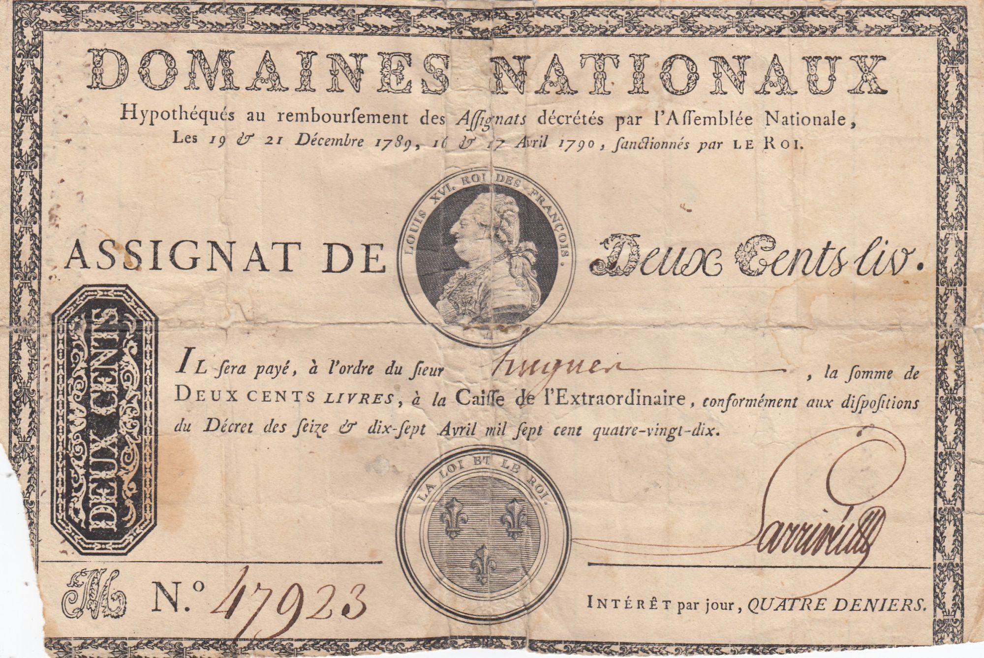 France 200 Livres Louis XVI - sans coupons -  Avril 1790 - Série M - 47923