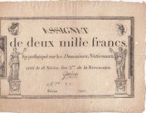 France 2000 Francs 18 Nivose An III - 7.1.1795 - Sign. Gaudet - F to VF