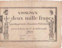 France 2000 Francs 18 Nivose An III - 7.1.1795 - Sign. Gaudet - F to VF