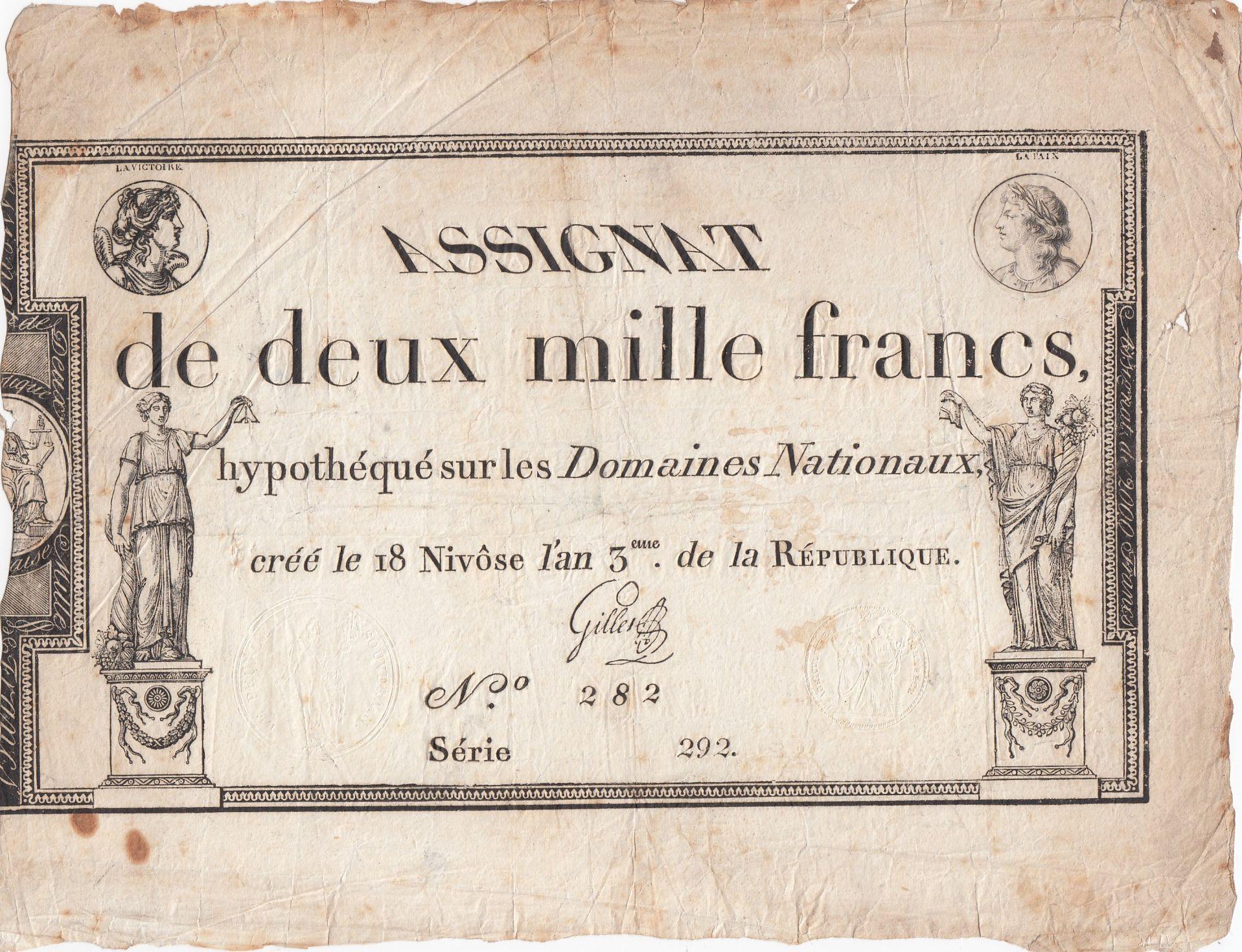 France 2000 Francs 18 Nivose An III - 7.1.1795 - Sign. Gilles - F to VF