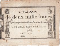 France 2000 Francs 18 Nivose An III - 7.1.1795 - Sign. Gilles - F to VF