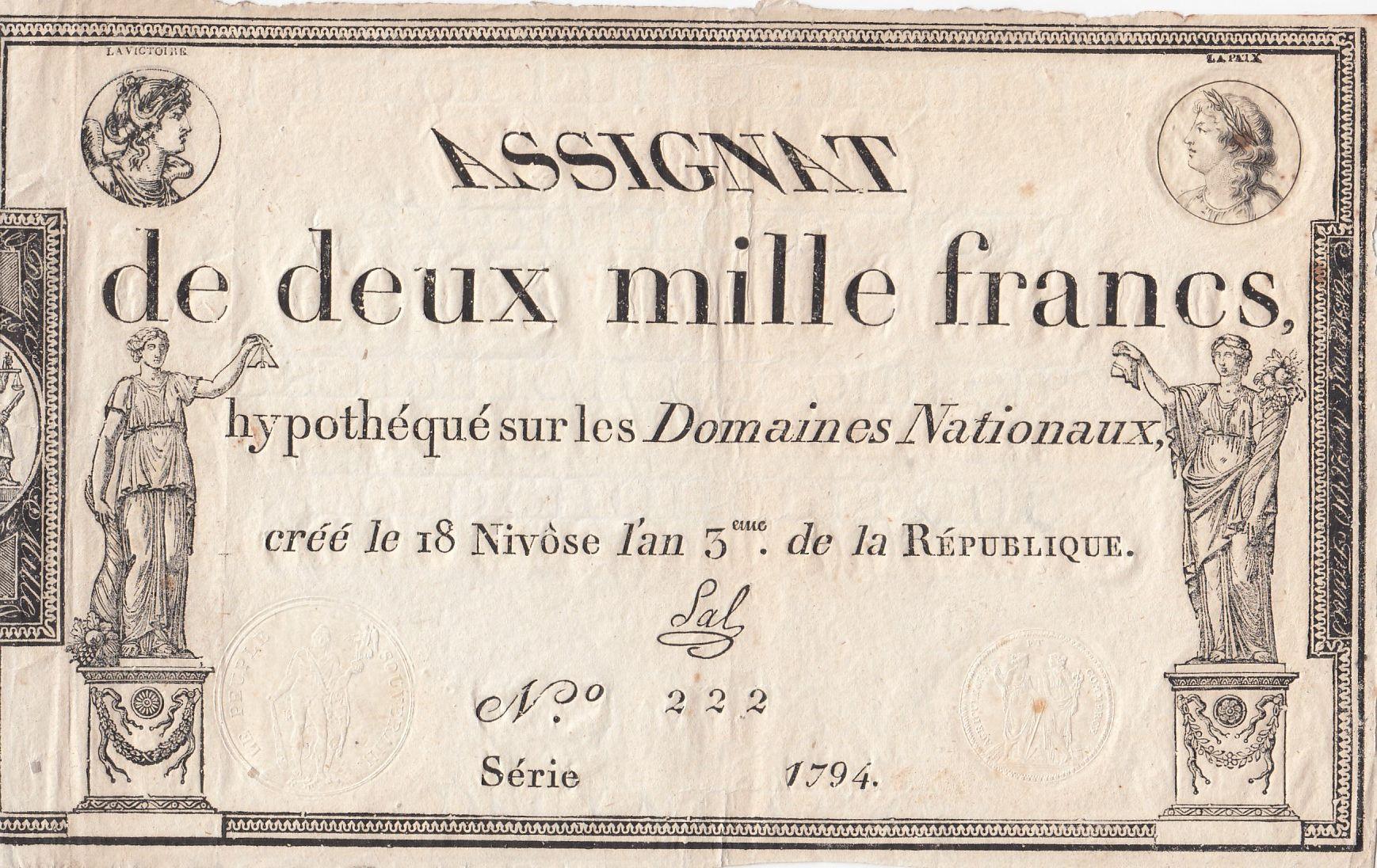 France 2000 Francs 18 Nivose An III - 7.1.1795 - Sign. Sal - VF to XF