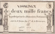 France 2000 Francs 18 Nivose An III - 7.1.1795 - Sign. Sal - VF to XF