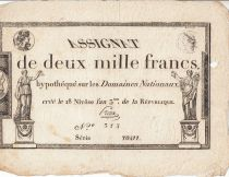 France 2000 Francs 18 Nivose Year III - 7.1.1795 - Sign. Preux