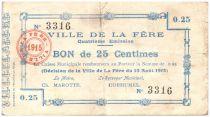 France 25 cent. La-Fère City - 1915