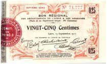 France 25 cent. Laon Régional - 1915