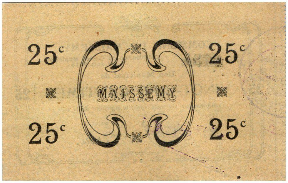 France 25 cent. Maissemy City - 1915