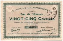 France 25 cent. Mondrepuis City - 1915