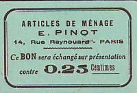 France 25 cent. Paris Articles de ménage E PINOT