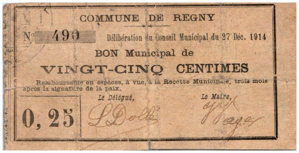 France 25 cent. Regny City - 1914