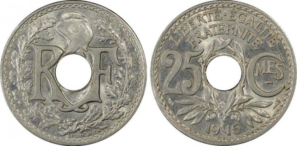France 25 Centimes, PCGS MS 64 Lindauer - 1915 PCGS MS 64
