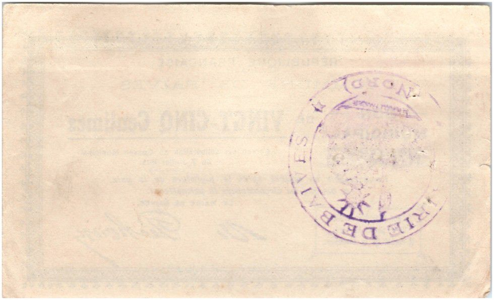 France 25 Centimes Baives Commune - 1915
