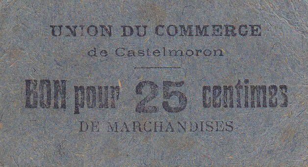 France 25 Centimes Castelmoron Union du commerce