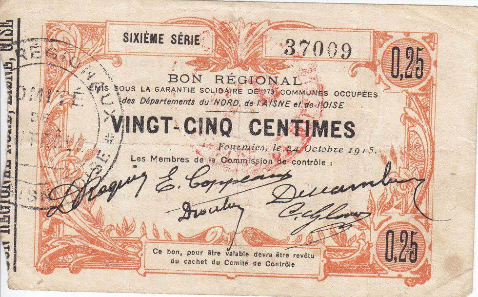 France 25 Centimes Fourmies City - 1915