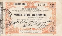 France 25 Centimes Fourmies Commune - 1915