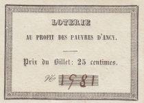 France 25 Centimes Loterie au Profit des Pauvres d\'Ancy - 1890 - p.Neuf