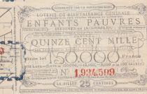 France 25 Centimes Loterie de Bienfaisance Générale des Enfants Pauvres  - 1853 - VF