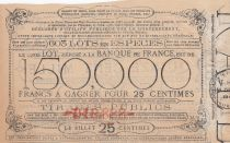 France 25 Centimes Loterie de Bienfaisance Générale des Enfants Pauvres  - 1886 - TTB - Chateauroux
