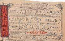 France 25 Centimes Loterie de Bienfaisance Générale des Enfants Pauvres  - 1886 - VF - Chateauroux