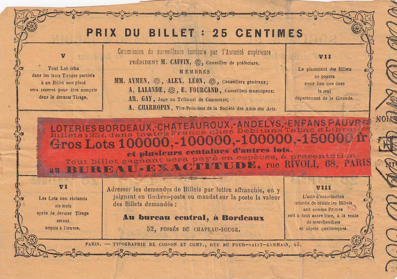 France 25 Centimes Loterie Parc et Jardin de Bordeaux - 1864 - TTB