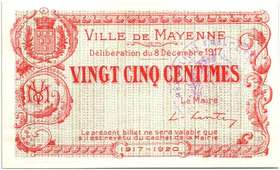 France 25 Centimes Mayenne Ville - 1917