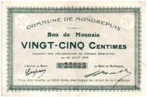 France 25 Centimes Mondrepuis Commune - 1915