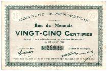 France 25 Centimes Mondrepuis Commune - 1915