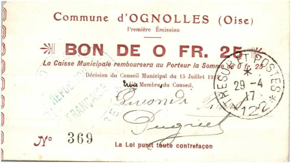 France 25 Centimes Ognolles City - 1915