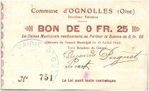 France 25 Centimes Ognolles City - 1915