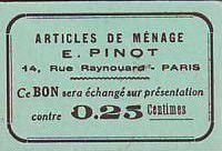 France 25 Centimes Paris Articles de ménage E PINOT