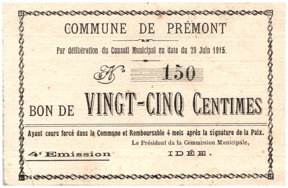 France 25 Centimes Premont Commune - 1915