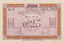 France 25 Centimes Regie des chemins de Fer - 1923 - Serial A.6