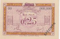 France 25 Centimes Régie des chemins de Fer - 1923 - Spécimen Série OO
