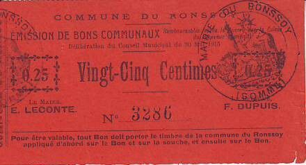 France 25 Centimes Ronssoy