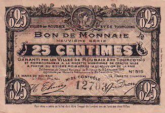 France 25 Centimes Roubaix-Tourcoing - 16/12/1916