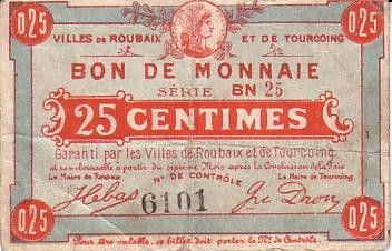 France 25 Centimes Roubaix-Tourcoing