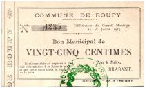 France 25 Centimes Roupy City - 1915