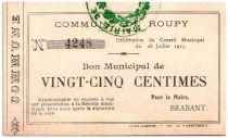 France 25 Centimes Roupy Commune - 1915