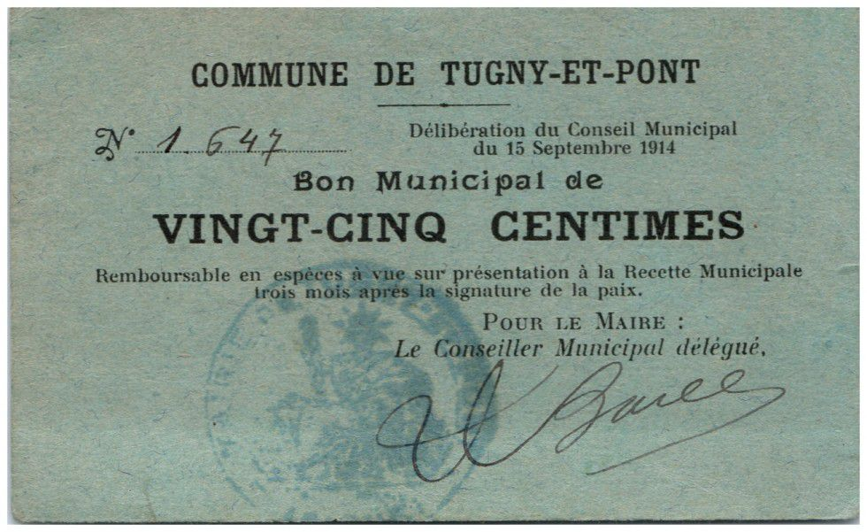France 25 Centimes Tugny-Et-Pont City - 1914
