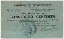 France 25 Centimes Tugny-Et-Pont Commune - 1914