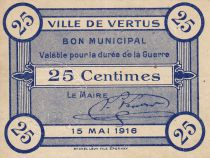 France 25 Centimes Vertus Bon Municipal 1916