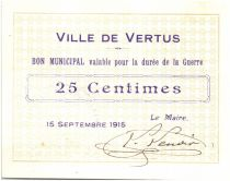 France 25 Centimes Vertus City - 1915