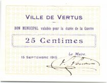 France 25 Centimes Vertus City - 1915