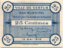 France 25 Centimes Vertus City - 1916