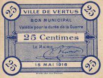 France 25 Centimes Vertus City 1916