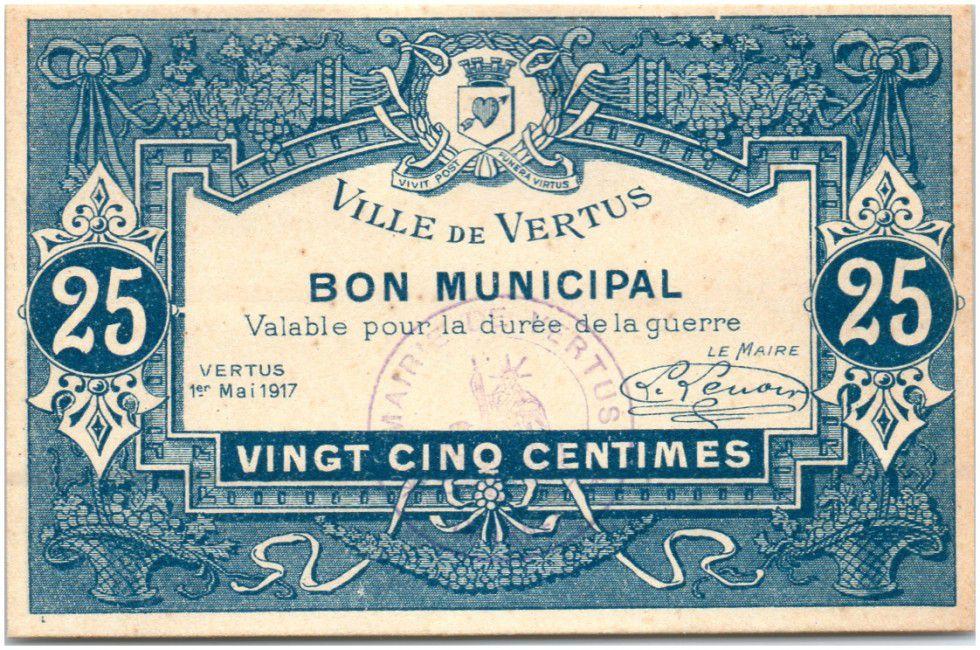 France 25 Centimes Vertus Verso Fauté