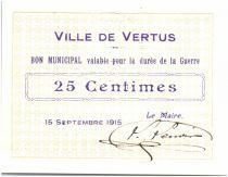 France 25 Centimes Vertus Ville - 1915
