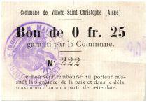 France 25 Centimes Villers-Saint-Christophe Commune - 1915