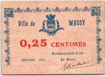 France 25 Centimes Wassy City - 1916